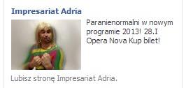 Reklama występu kabaretu Paranienormalni
