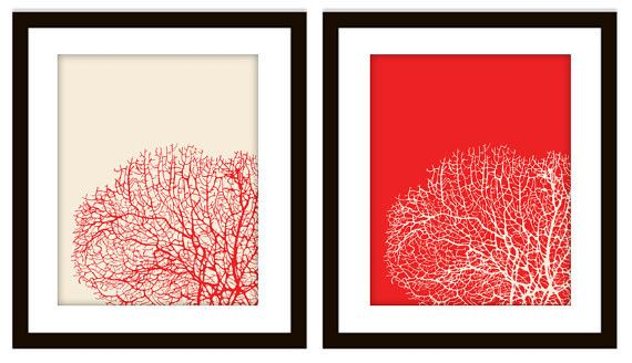 Red & Cream mirrored coral art prints that are personalized with ANY color you want. <3 LOVE $12.50 #DIY #printyourself #coral #coralart #artprint #bathroomdecor