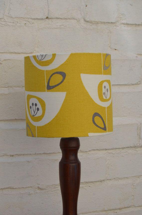Lampshade mustard lampshade retro lamp by ShadowbrightLamps