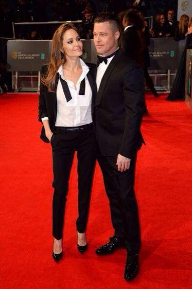 Best dress bafta 2014: angelina jolie & brad pitt in matching saint laurent tuxedo