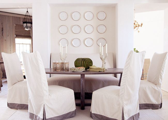Nook For Settee + Farmhouse Table + Awesome Slipcovers {Coastal Living  Ultimate Beach House :: Interiors By Urban Grace Interiors.