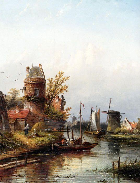 Vue De Buiksloot Pres D'Amsterdam by Jan Jacob Coenraad Spohler (1837-1923, Netherlands)