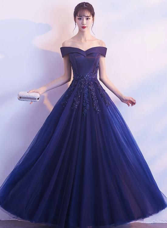 ff91df269a4 Navy Blue Stain Top with Tulle Skirt Off Shoulder Long Formal Dress ...