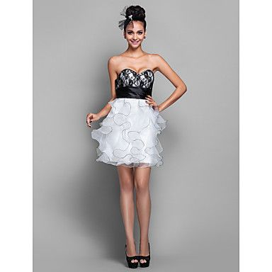 Wedding Party/Cocktail Party/Homecoming Dress A-line Sweetheart Short/Mini Organza/Lace Dress – AUD $ 137.99