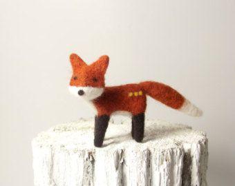 Agulha feltrada Fox Escultura macia animal bonito Presente do amante