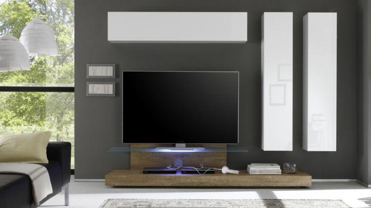 Mueble TV con encimero de vidrio y luz Led Linery