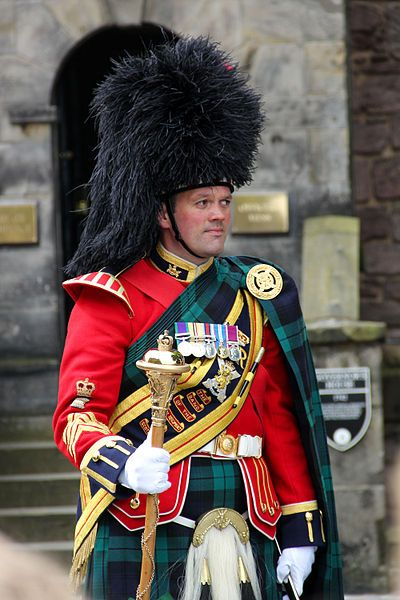 Drum Major from the Band of the Royal Regiment of Scotland at Edinburgh Castle, celebrating the Diamond Jubilee of Queen Elizabeth II. 2 June 2012