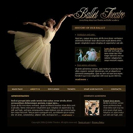 Ballet Theatre Website Templates by Delta