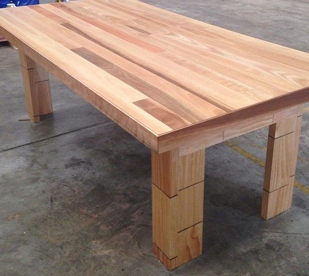 Spotted Gum hardwood dining table seats 8, made using Australian Hardwood tongue and groove timber floorboards at Timber Floors Pty Ltd 7 Jumal Place Smithfield NSW 2164 Tel 02 9756 4242