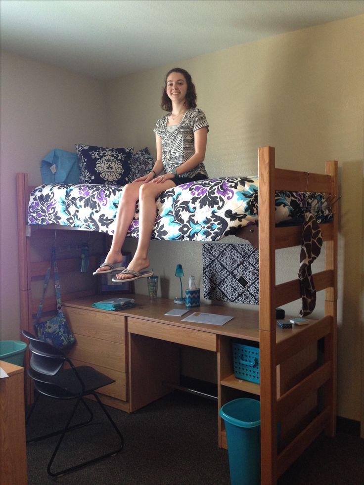 Bridges Hall at SAGU.  Lofted Bed with desk and drawers underneath.  Lot of floor space, but you have to climb onto and off of bed.