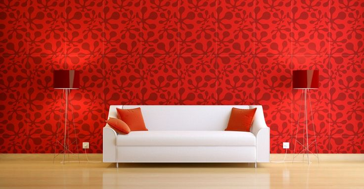 Interior Design Picture White Sofa With Red Wall