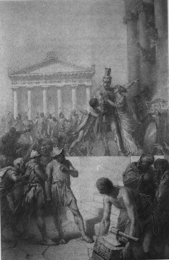 Illusztráció Madách Imre Az ember tragédiája című művéhez: Athénében (5. szín)  1887