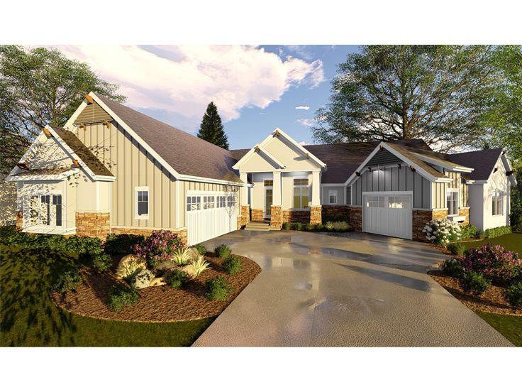 050h 0164 Empty Nester House Plan With Unique Floor Plan Farmhouse Style House Plans Farmhouse Style House Craftsman Style House Plans
