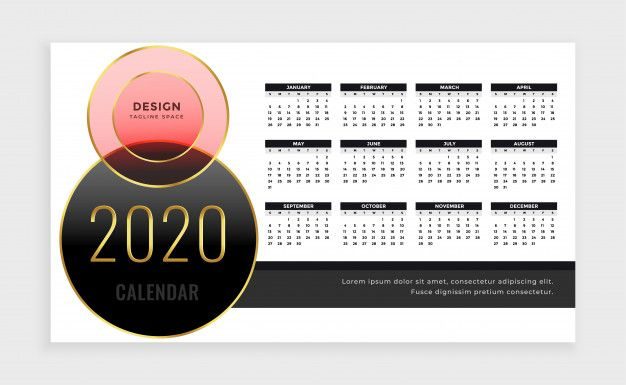 Year 2020 Calendar Template In Luxury Style Free Vector Free Vector Freepik Vector Freecale Calendar Template 2020 Calendar Template Business Card Mock Up