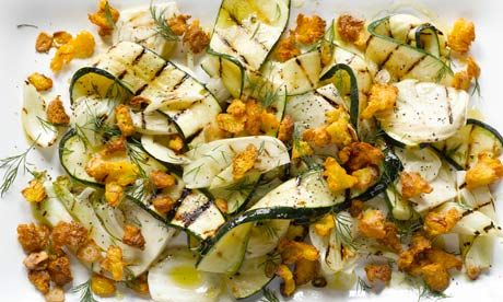 Yotam Ottolenghi's grilled courgette and fennel with saffron crumbs recipe, plus yoghurt-marinated lamb cutlets