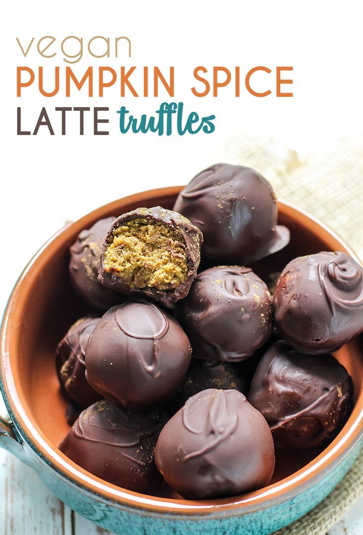These Pumpkin Spice Latte Truffles are an amazing healthy treat! Made with vegan plant protein, gluten-free, and tested paleo option. Under 100 calories, 10g carbs, and 7g fat per truffle!