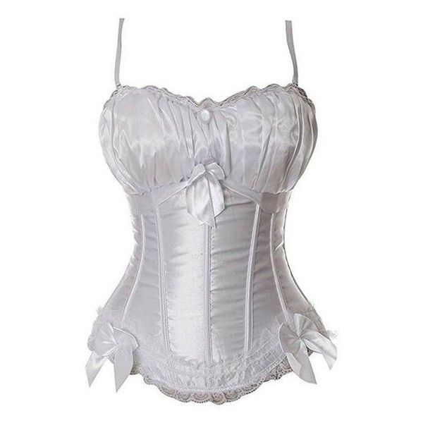 Women's Lolita Gothic Princess Lace up Boned Corset Bustier Top Small ❤ liked on Polyvore featuring intimates, white lace up corset, front lace corset, front lace up corset, gothic corset and white corset
