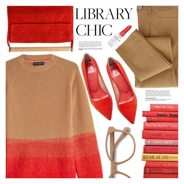 """Library Chic"" by meyli-meyli ❤ liked on Polyvore featuring Meraki, Etro, aeydē, Rodin, EyeBuyDirect.com, red, Clutch, bag, finals and thegreekdesigners"