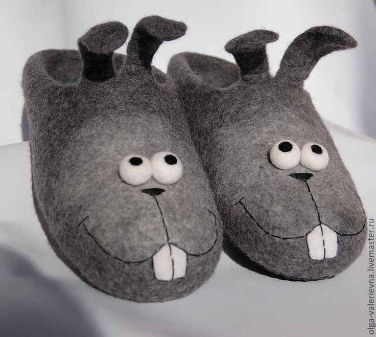 Купить Тапко-зайцы . - валяные тапочки, домашние тапочки, домашние тапки, войлочные тапки