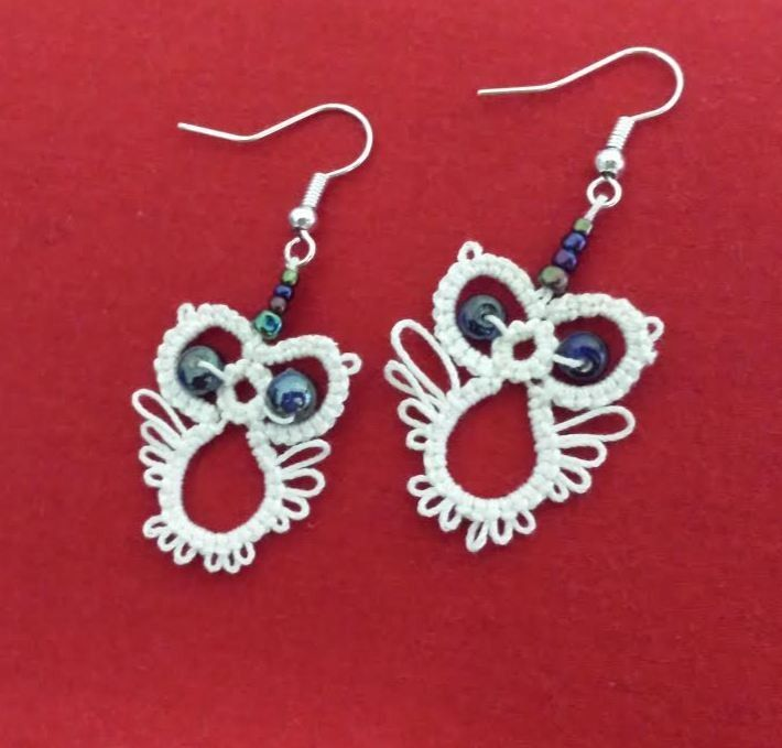 Owl Design Tatted Earrings Price $12.95