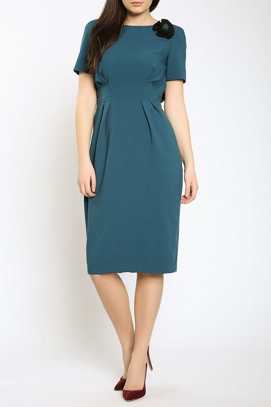 платье с юбкой длины миди, зеленого цвета