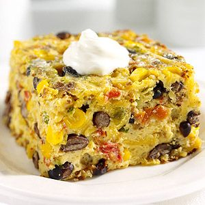 THIS IS DELISH! (I DID A TOTAL OF 12 EGGS, CREATING A 9x13, AND AN 8x8 FOR A LARGE BRUNCH! A HUGE HIT!)   A colorful egg bake filled with chorizo, black beans, tomatoes, and corn. (Fiesta Breakfast Casserole)
