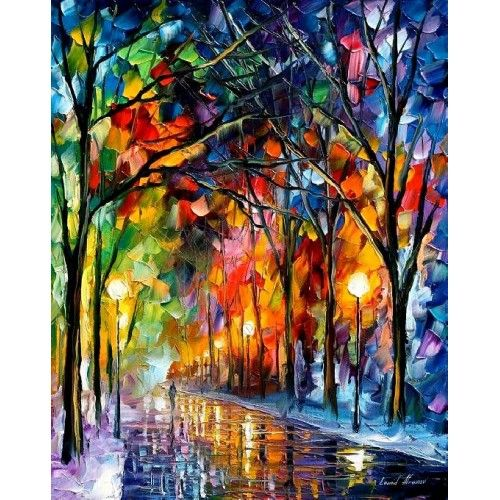 COLOR: Crafts Paintings, Paintings On Canvas, Paintings Art, Oil Paintings, Vibrant Color, Winter Parks, Leonid Afremov, Music Book, Stained Glass