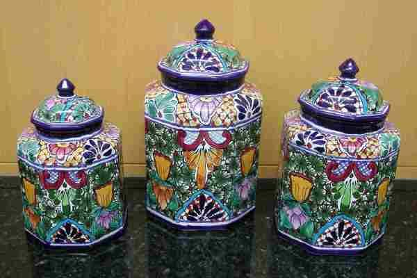 Talavera Canister Set - Large - Mexican Connexion for Talavera Pottery [ MexicanConnexionforTile.com ] #shop #Talavera #Mexican
