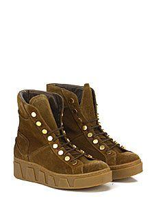 LEMARE' - Sneakers - Donna - Sneaker in pelle laminata con borchie e suola in gomma. Tacco 80, platform 25 con battuta 55. Zeppa interna. - NERO