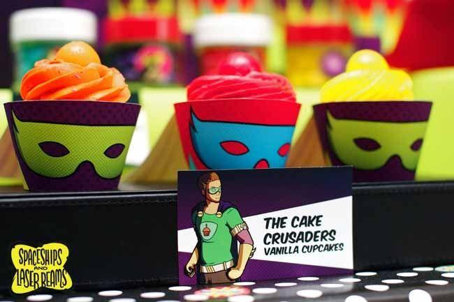 superhero cupcake ideas for boy's birthday party www.spaceshipsandlaserbeams.com