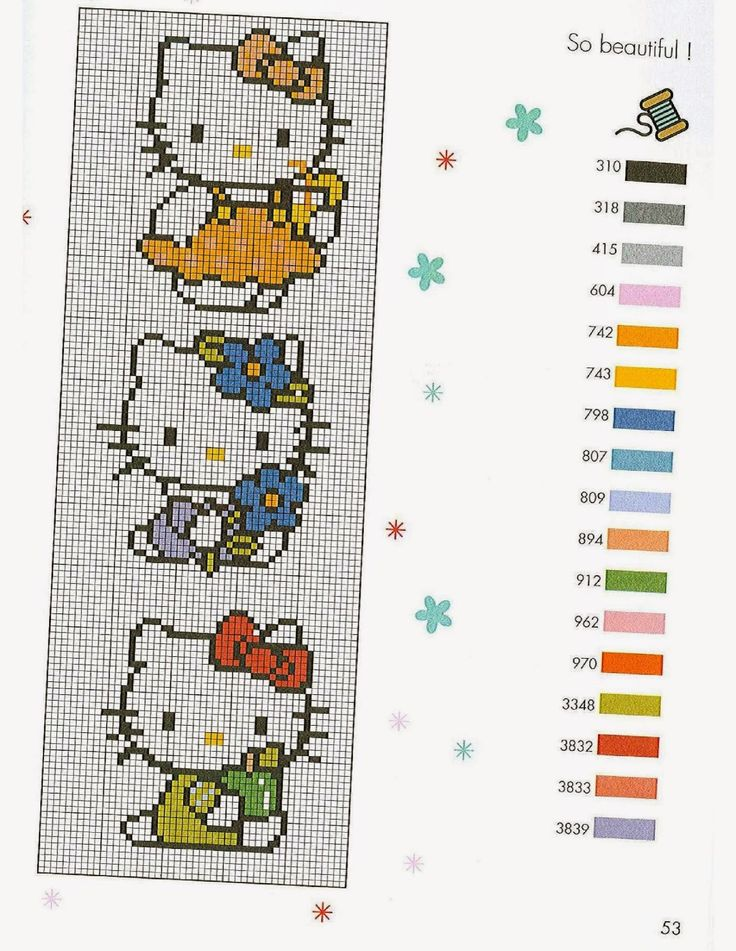 Revistas de manualidades Gratis: Diagramas de hello Kitty en punto de cruz