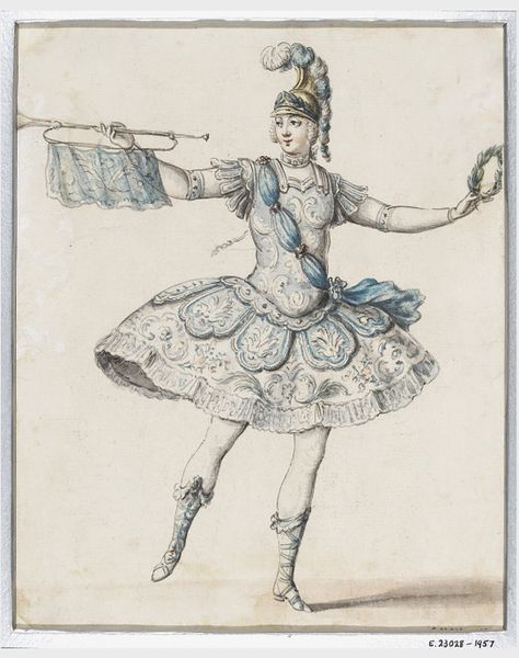 Drawing | Lior | V&A Lior P. (active second quarter of 18th c.), attributed to, Design for the costume of a herald or trumpeter in an opera or ballet French School