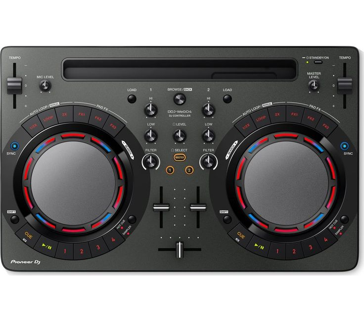 Buy PIONEER DDJ-WEGO4 DJ Controller - Black, Black Price: £269.00 Top features: - Mix tracks with a club-style DJ Controller deck - iPad dock syncs your iTunes library and charges your tablet - Control your music using app controls and software included Mix tracks Replicating a club-style deck setup, the Pioneer DDJ-WEGO4 DJ Controller is perfect for mixing music, with straightforward buttons...