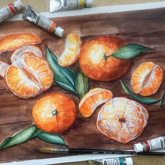 Do you like tangerines? #tangerine #orange #woodensurface #watercolor #art #lana #mandarin #tasty #juicy