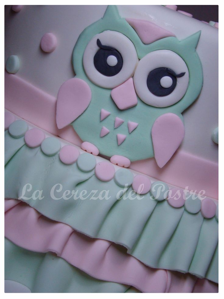 Torta Lechuza #lechuza #torta #fondant #pastel #bolo #cumpleaños #bautismo  Owl cake #owl #cake #pink #baby #baptism #birthday