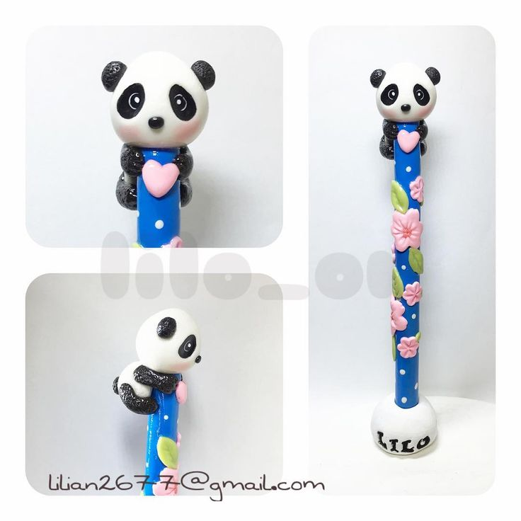Oso panda Lapicero cubierto en porcelana fria. Pen is covered with cold…