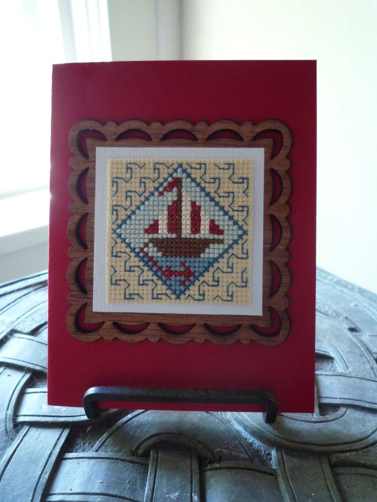 Sail Away, Hand Stitched Card by HMCrafters on Etsy