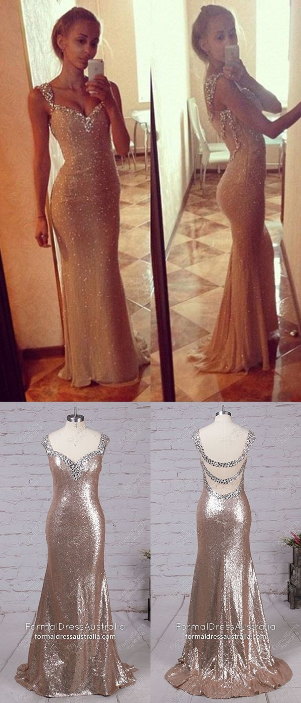 Gold formal dresses long mermaid prom dresses sparkly v neck