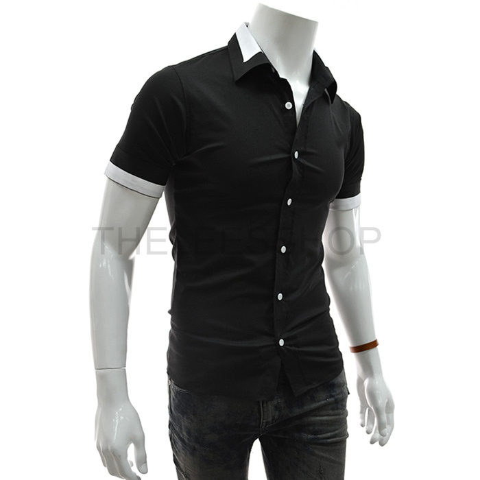 2 Tone Patched Stretchy Short Sleeve
