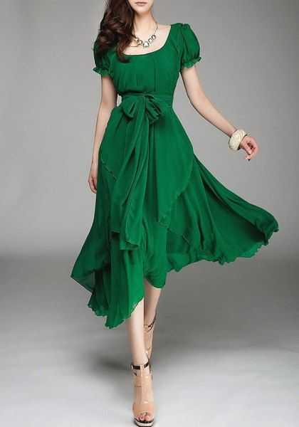 Solid Color Lace-Up Refreshing Style Scoop Neck Short Sleeve Chiffon Dress For Women