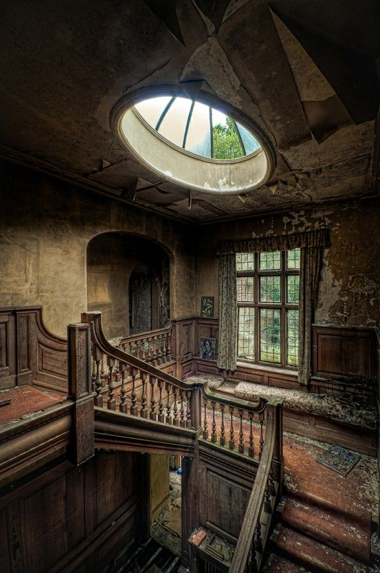 This Photo Was Taken Of The Interior Of An Abandoned Victorian House.a  Great Skylight In A Hobbit Home!