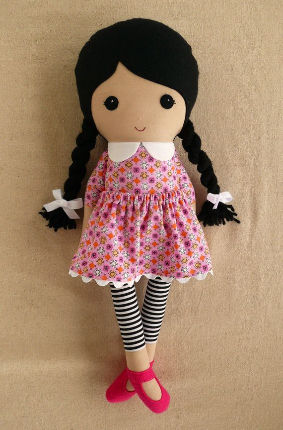 Fabric Doll Rag Doll Black Haired Girl in Pink by rovingovine, $37.00