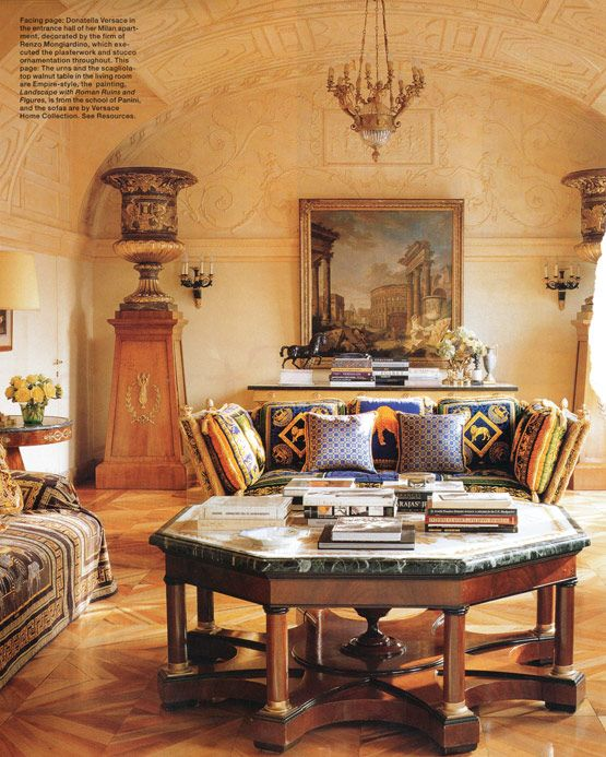 17 best images about renzo mongiardino style on pinterest green lace rome and nureyev - Versace living room design ...