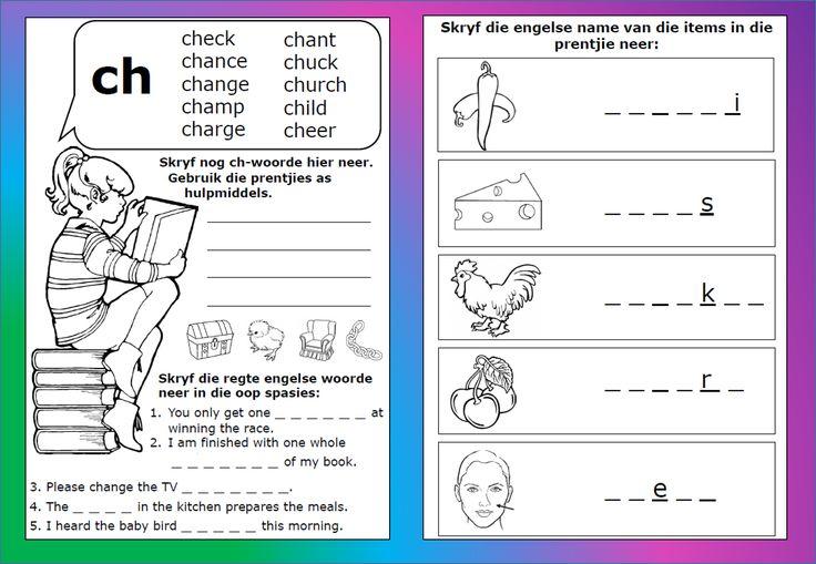 ch - woorde werkkaart, Grondslagfase. Aflaaibare, volledige dokument beskikbaar op Teacha.  https://teachingresources.co.za/vendors/komma-leer-en-leessentrum/