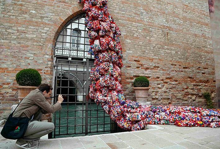 Venice biennale: The Garbage Patch State by Italian artist Maria Cristina Finucci