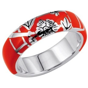 KENZO Fedora Floral Red Resin Ring