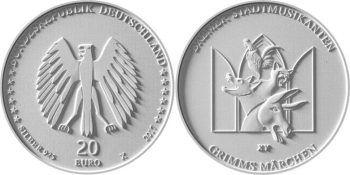 20 евро «Бременские музыканты», серия «Сказки братьев Гримм»