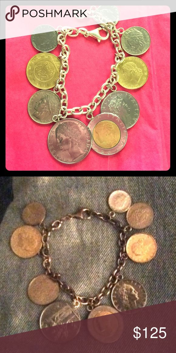 """Vtg Milor Sterling Silver Lira Coin Charm Bracelet ⭐️Vintage Milor Italy Sterling Silver Italian Lira Coin Charm Bracelet. Measures 7 1/2"""" long with 5mm oval links. Lobster claw clasp. There are 9 Italian Lira coin charms that are dated from 1977 to 1999. Stamped .925 and hallmarked Milor Italy. Absolutely enchanting and charming, historically and aesthetically⭐️ Vintage Jewelry Bracelets"""