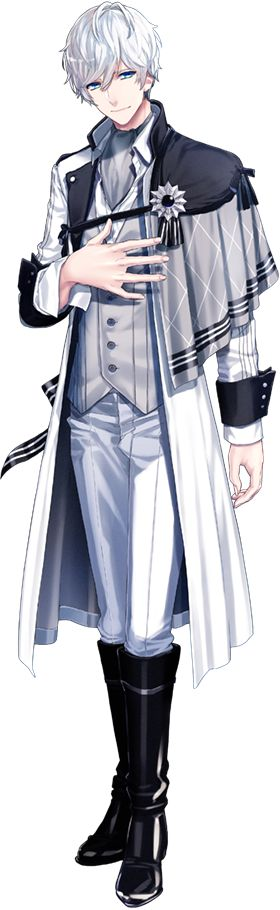 Tomohisa Kitakado (北門倫毘沙, Tomohisa Kitakado ) is an idol and a member of Kitakore. Tomohisa appears as a tall, handsome, and charming man with silver hair and light blue-green eyes. His artwork depicts him with a white jacket with black cuffs and a sash on his left shoulder from the waist down, has a black string around his outfit to keep the sash up on his shoulder, has a formal white shirt behind a gray shirt, light gray pants, and tall black boots.