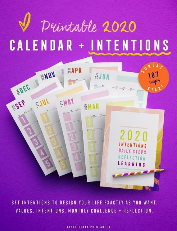 2020 Calendar With Intentions Printable Planner Inserts Sunday